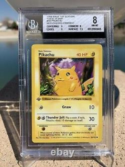 1999 1ST EDITION POKEMON Shadowless Pikachu Red Cheeks error C (#58) BGS 8