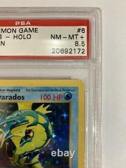 1st Edition Base Set Gyarados Holo PSA 8.5 NM-MT+ VERY RARE GRADE