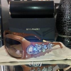 Bvlgari Sunglasses Swarovski Crystal Limited Edition 856-B Light Brown VERY RARE