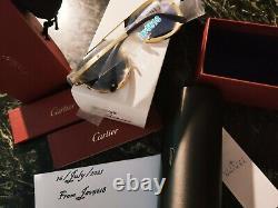 Cartier Sunglasses Santos Dumont Aviator Pilot Very Rare Edition Titanium Gold