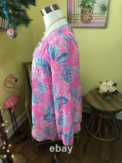 Lilly Pulitzer NWT Elsa Silk Top Pinking Positive Size XL VERY RARE EDITION