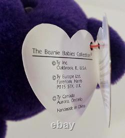 VERY RARE 1st EDITION PVC PRINCESS (Diana) Bear 1997 Ty Beanie Baby MINT