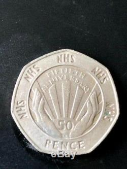 Very Rare and special 50p coin NHS 50th anniversary 1998 edition Rare collectibl