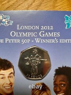 2009 Blue Peter 50p Londres 2012 Jeux Olympiques Winners Edition Very Rare Bunc