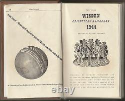 Cricket Wisden Très Rare Cricketers' Almanack 81e Édition Pour 1944