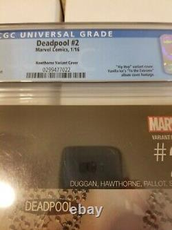 Deadpool #2 Cgc 9.8 Mike Hawthorne Variante Hip Hop Cover Very Rare 1100