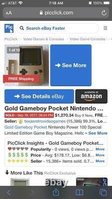 Gameboy Pocket Gold 100 Nintendo Power Edition Game Boy Np100 Very Rare