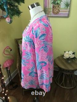 Lilly Pulitzer T.n.-o. Elsa Silk Top Pinking Taille Positive XL Édition Very Rare