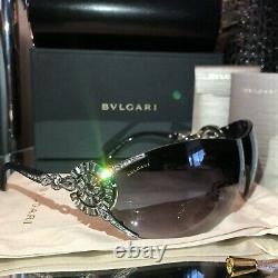 Lunettes De Soleil Bvlgari Cristal Swarovski Limited Edition 6039-b Noir Tres Rare