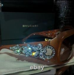Lunettes De Soleil Bvlgari Swarovski Crystal Edition Limitée 856-b Marron Clair Très Rare