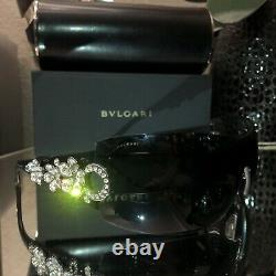 Lunettes De Soleil Bvlgari Swarovski Crystal Limited Edition 652-b Noir Très Rare