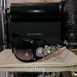 Lunettes De Soleil Bvlgari Swarovski Crystal Limited Edition 856-b Noir Très Rare