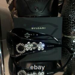 Lunettes De Soleil Bvlgari Swarovski Crystal Limited Edition 857-b Noir Très Rare
