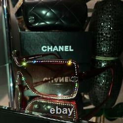 Lunettes De Soleil Chanel Edition Limitée Swarovski Crystal 5065-b Rube Rouge Very Rare