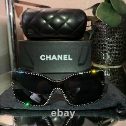 Lunettes De Soleil Chanel Limited Edition Swarovski Crystal 5065-b Noir Très Rare