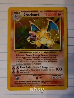 Pokemon Base Set 4/102 Shadowless 1ère Édition Charizard Très Rare