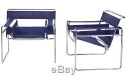 Très Rare 1962 Marcel Breuer Bleu Toile Wassily Chaise Édition Limitée