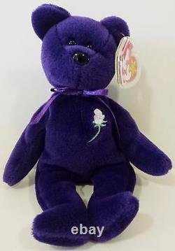 Très Rare 1ère Édition Pvc Princess (diana) Ours 1997 Ty Beanie Baby Mint