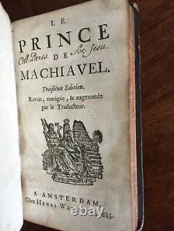 Très Rare Début Full Leather Bound Version Of The Prince Par Machiavel 1686
