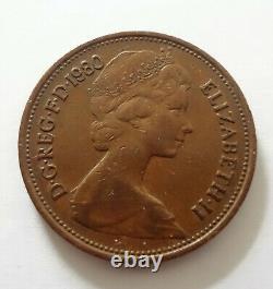 Very Rare New Pence 1980 2p Pièce De La Première Édition