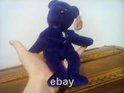 Very Rare Ty Beanie Babies Princess Diana Bear (1ère Édition No Space On Tag)1997